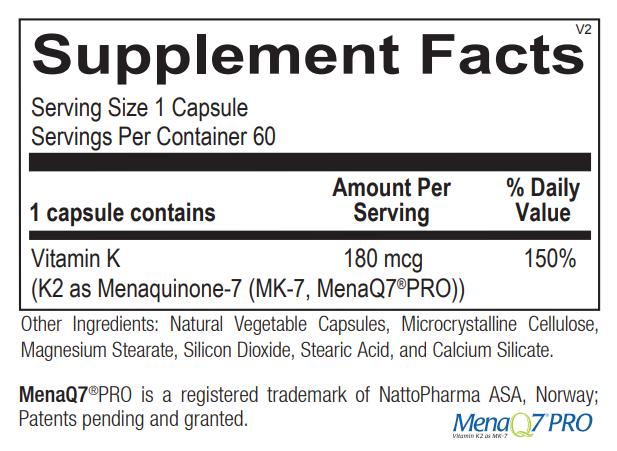 Ortho Molecular Vitamin K2 180mcg Supplement Facts.