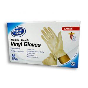Premier Value Medical Grade Vinyl Gloves Large 50pk. Box shown.