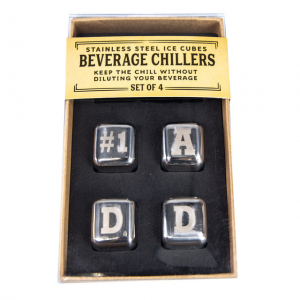 #1 Dad Stainless Steel Ice Cubes. Box shown.