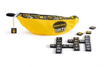 Bananagrams Party Edition game. Bananagrams bag shown (zipper bag in shape of a banana) with several letter tiles lying in front of it.