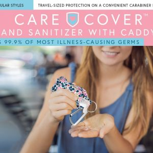 Care Cover Hand Sanitizer with Caddy product image. Image of a woman using the hand sanitizer under the product name.