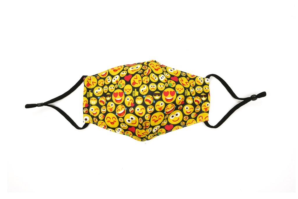 Care Cover Kid's Protective Mask Emojis. Image of stylized assorted emoji-patterned children's protective mask.