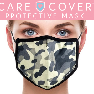 Care Cover Protective Masks. Image of the Care Cover Protective Mask logo over an image of a woman wearing a camo face mask.