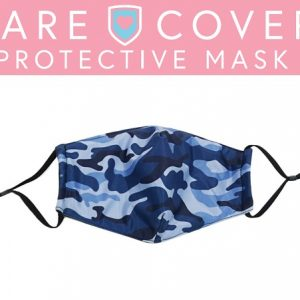 Care Cover Protective Masks. Image of a Care Cover Protective Mask in the Blue Camo style under the product name.