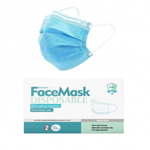 Defender Disposable Face Mask 50 Pack product image. Image of a 50 count box of defender face masks under a single mask (blue mask with white straps).