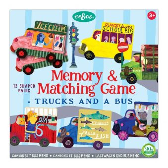 eeBoo Memory & Matching Game Trucks and a Bus product image. Picture of the front of the game box--many stylized trucks (and a bus).
