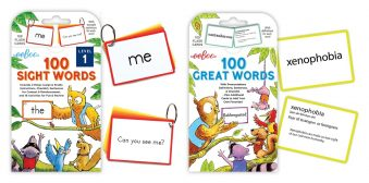eeBoo Sight Words Flash Cards. Image of two sets of cards (from left to right); 100 Sight Words and 100 Great Words. Example cards with words are shown on the right side of each game.