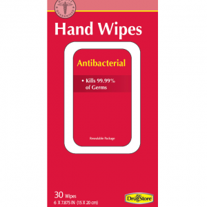 Lil' Drug Store Antibacterial Wipes 30 pack. Front of packaging shown, red with white text and white bordering.