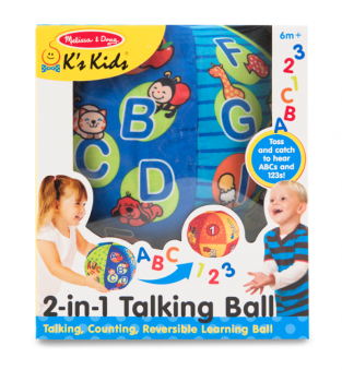 Melissa & Doug 2-in-1 Talking Ball. Product image of the talking ball in packaging with features text.