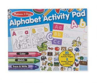 Melissa & Doug Alphabet Activity Pad. Product image shows cover of the activity pad with many pictures of letters and colors.