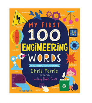 My First 100 Engineering Words book. Image of the cover of the book featuring many small, engineering-related pictures.