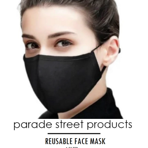Parade Street Products Reusable Face Mask with Filter product image. Image features a young woman wearing a black face mask with the product title printed underneath.