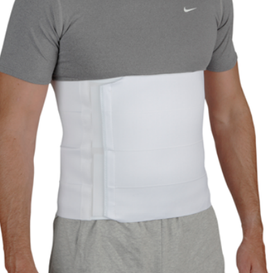 Össur 4-Panel Abdominal Binder product image. Image of male torso wearing the the white 4-panel abdominal binder.