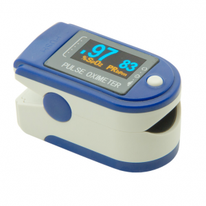Contec Pulse Oximeter product image. Image of pulse oximeter, blue face with grey area surrounding digital display (black background, green digits). Body of pulse oximeter is off-white with blue accents.
