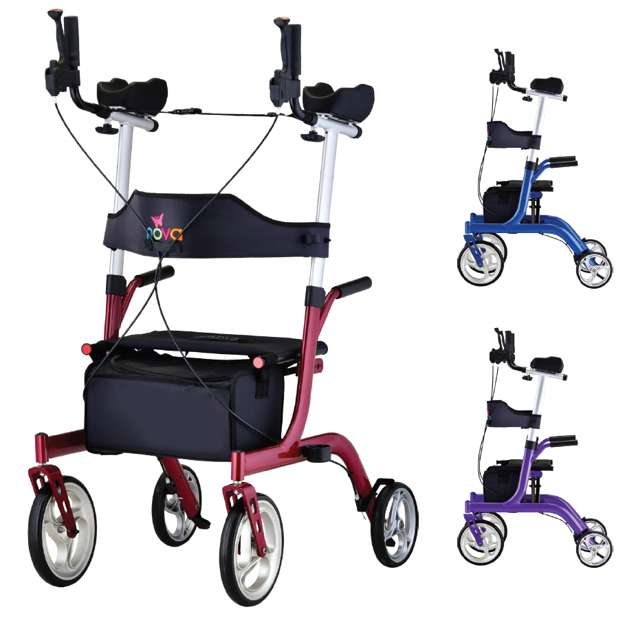 Nova Phoenix Rise UP Rollator with side views. Image of the Nova Phoenix Rise UP Rolling walker with two smaller images of side views on the right side.