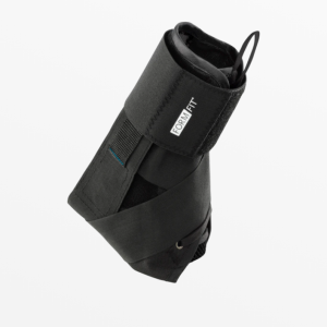 Össur Formfit Ankle Brace with Speedlace. Profile image of the brace--all black with a white logo.