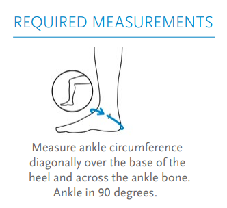 Össur Formfit Pro Ankle Brace measurements image. Required measurements state to measure the circumference diagonally over the base of the heel across the ankle bone.