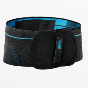 Össur Formfit Pro Back Brace. Image of the back brace--black with a blue interior. Extra padding around the lumbar area.