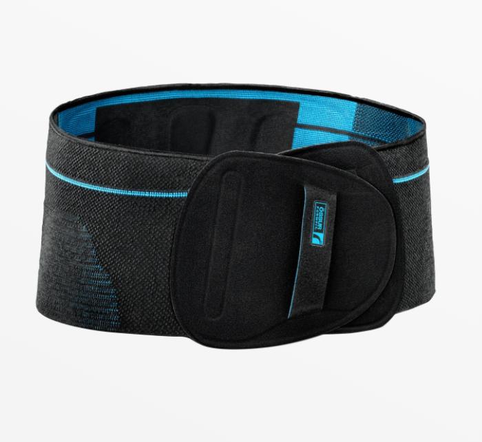 Össur Formfit Pro Back Brace. Image of the back brace--black with a blue interior. Extra padding around the lumbar area.