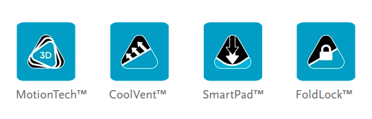 Össur Formfit Pro Elbow features. Icon images of the Formfit Pro features (Motion Tech, Cool Vent, Smart Pad, and Fold Lock).