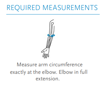 Össur Formfit Pro Elbow Brace. Required measurement states to measure the circumference directly around the center of the elbow.