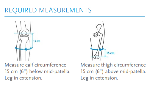 """Össur Formfit Pro Knee Brace measurements. An image of where to measure for fitting the brace (6"""" below mid-patella for calf, 6"""" above for thigh)."""