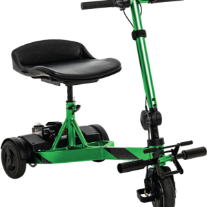 Pride iRide Mobility Scooter. Front/profile image of the Pride iRide in Lime Green. Scooter is shown fully assembled.