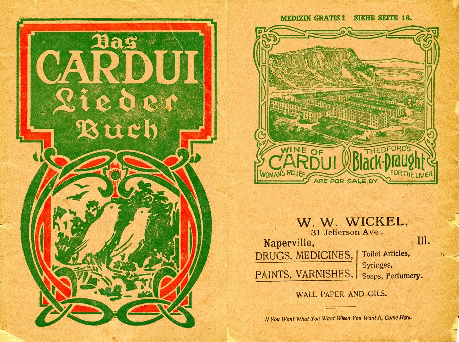 Das Cardui remedy pad from the early 1900s. Right side has the W.W. Wickel name (first generation owner of Oswald's Pharmacy).