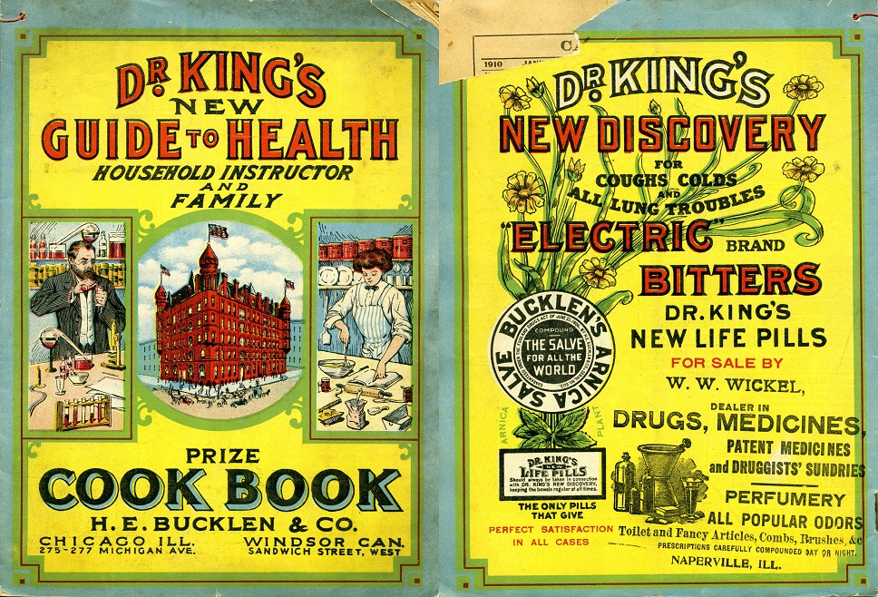 Dr. King's Guide to Health and Almanac. Cover of the issue from 1900, featuring a cook book and new herbal discoveries.