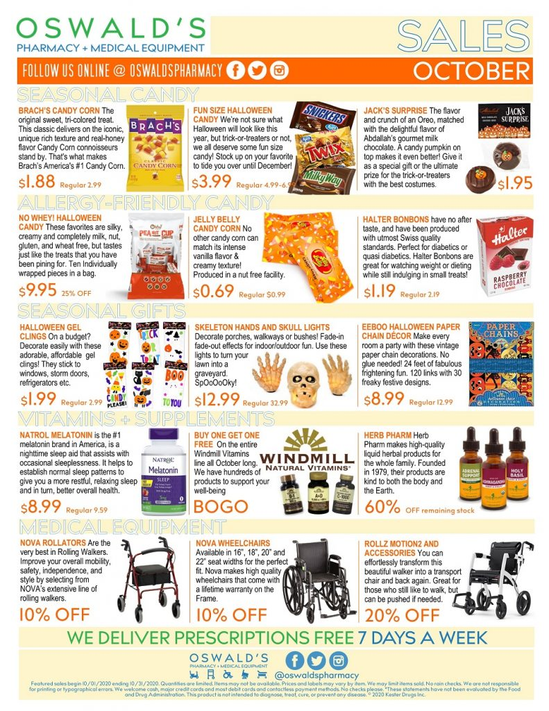 October 2020 Sales Flyer. Monthly promotions for Oswald's Pharmacy.