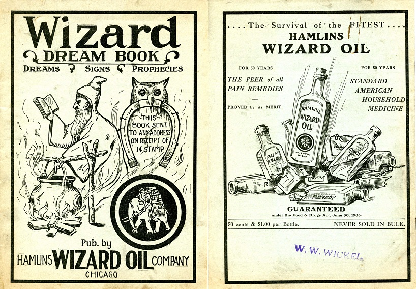 Wizard Oil advertisement from 1909. Advertisement features occult themed drawings and promises to cure ailments.