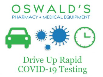 Image of Oswald's logo, a car, a virus particle and a clock that says Drive Up Rapid Covid-19 Testing