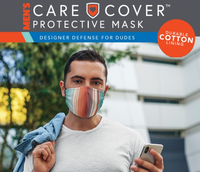 Care Cover Protective Masks for Men featured image. The product name in stylized font over a man wearing a care cover men's protective mask.