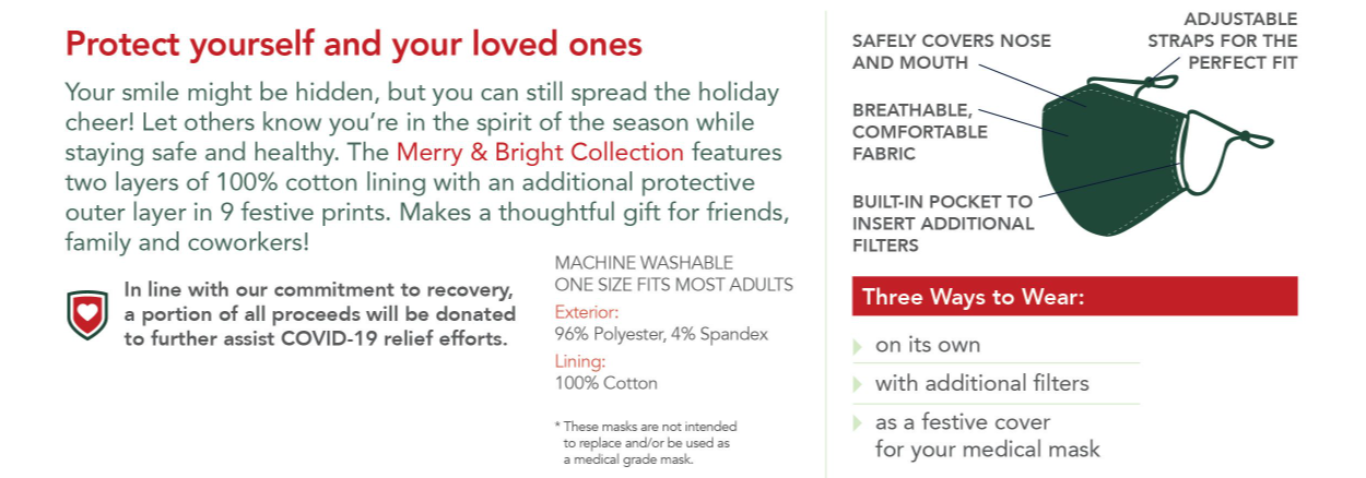 Care Cover Protective Masks Holiday & Christmas styles features image. Image of how to wear the mask and washing instructions. Care Cover mask sales also support COVID-19 relief funds nationwide.