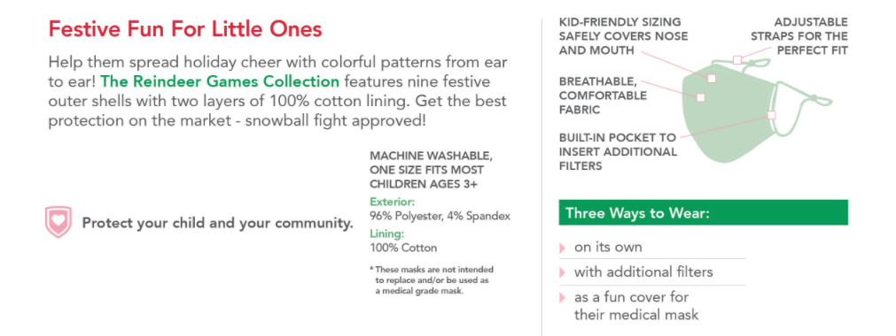 Care Cover Protective Masks Holiday & Christmas Kids styles features image. Image of how to wear the mask and washing instructions. Care Cover mask sales also support COVID-19 relief funds nationwide.