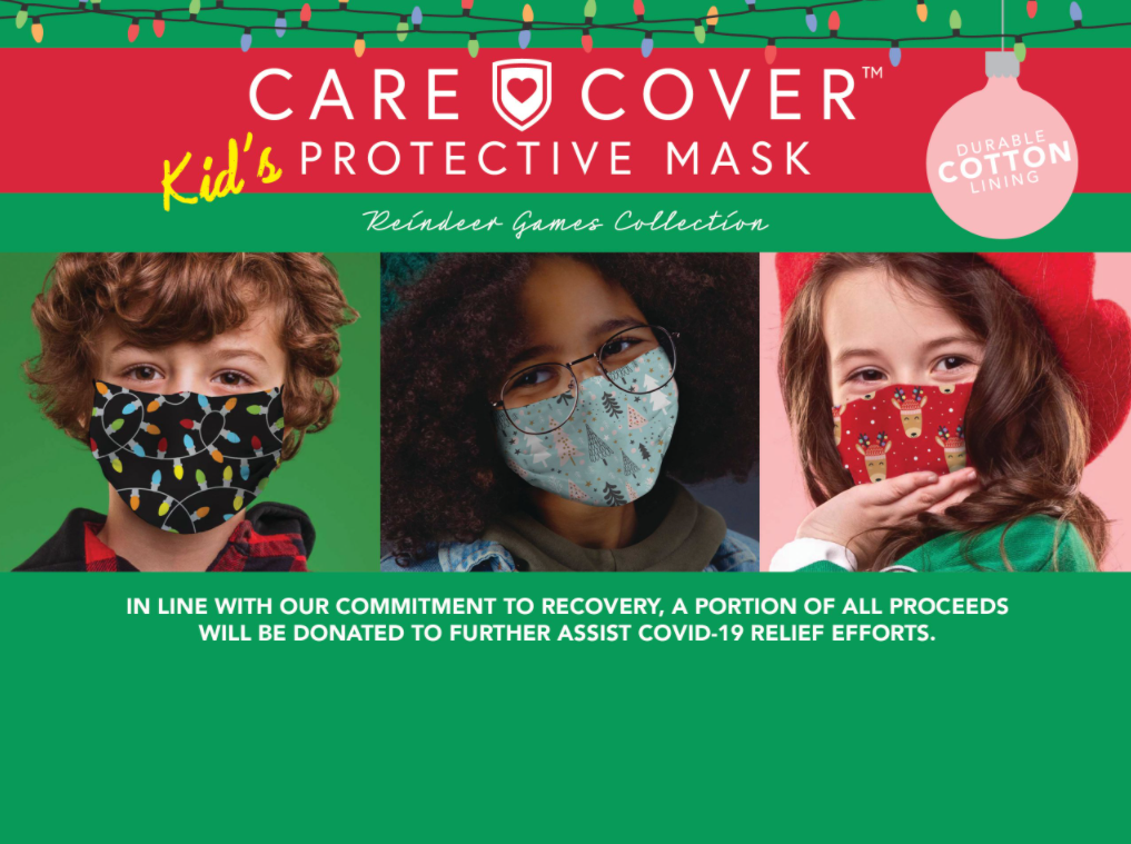 Care Cover Protective Masks Christmas & Holiday Kids product image. The product title surrounded by Christmas lights over three kids wearing the masks.