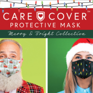 Care Cover Protective Masks Christmas & Holiday product image. The product title surrounded by Christmas lights over a man and woman wearing the masks.