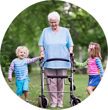 Naperville Medical Equipment image. Photo of a grandmother using a rolling walker taking her grandkids for a walk.