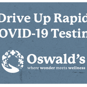 COVID-19 Antigen Testing product image. Text with the Oswald's logo underneath.