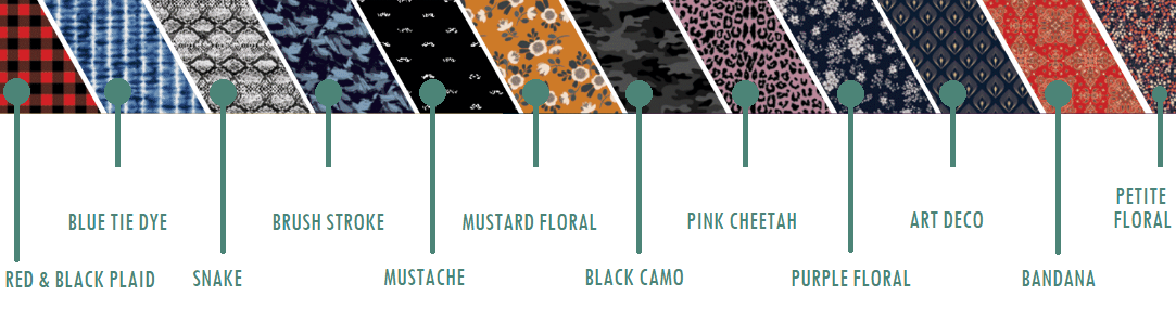 Care Cover Protective Mask Ready For Anything Collection style chart. From Left to right: red & black plaid, blue tie dye, snake, brush stroke, mustache, mustard floral, black camo, pink cheetah, purple floral, art deco, bandana, petite floral.
