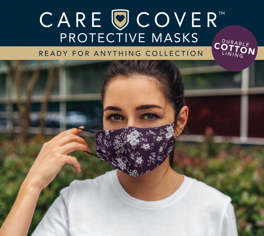 Care Cover Protective Masks Ready for Anything collection featured product image. The name and logo over a woman wearing one of the masks.