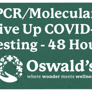 48-Hour Drive Up Covid PCR Molecular Testing Page Image. Page Title over the Oswald's where wonder meets wellness logo.