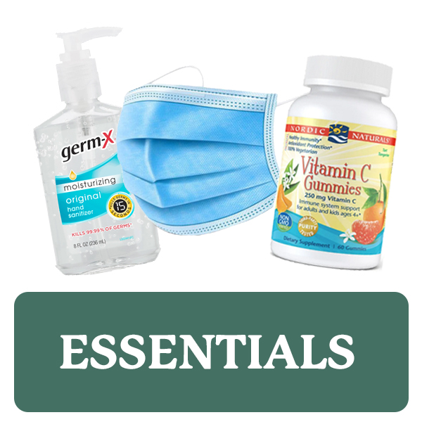 Essentials category button. Picture of hand sanitizer, a KN95 mask, and a bottle of Vitamin C over a clickable green button.