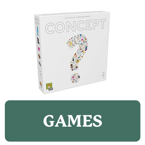 Games category button. Picture of a board game box over a clickable green button.