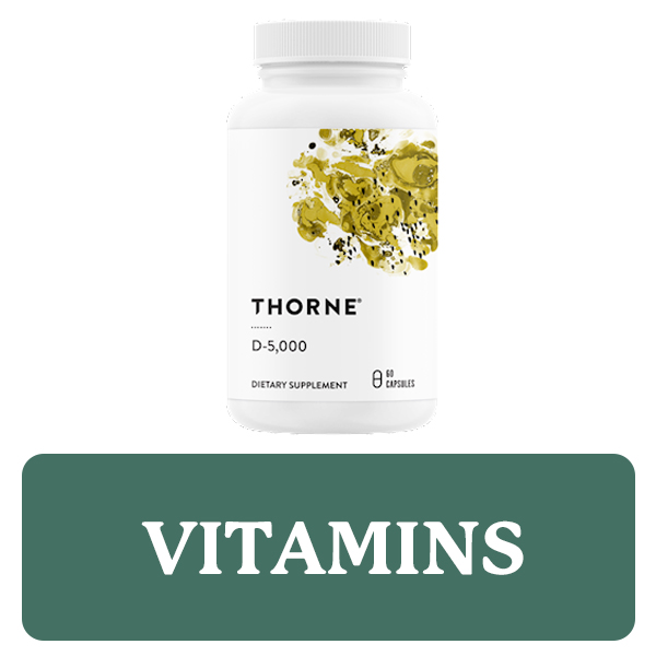 Vitamins category button. Picture of a Thorne Vitamin D bottle over a clickable green button.