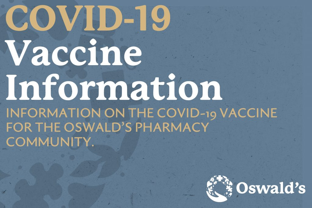 COVID-19 Vaccine information page image. The title with the Oswald's where wonder meets wellness logo in the bottom right corner.