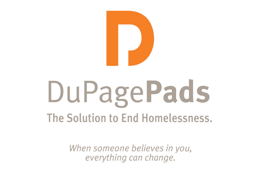"DuPage Pads logo. The DuPage Pads organization logo over the text ""The solution to endless homelessness."""