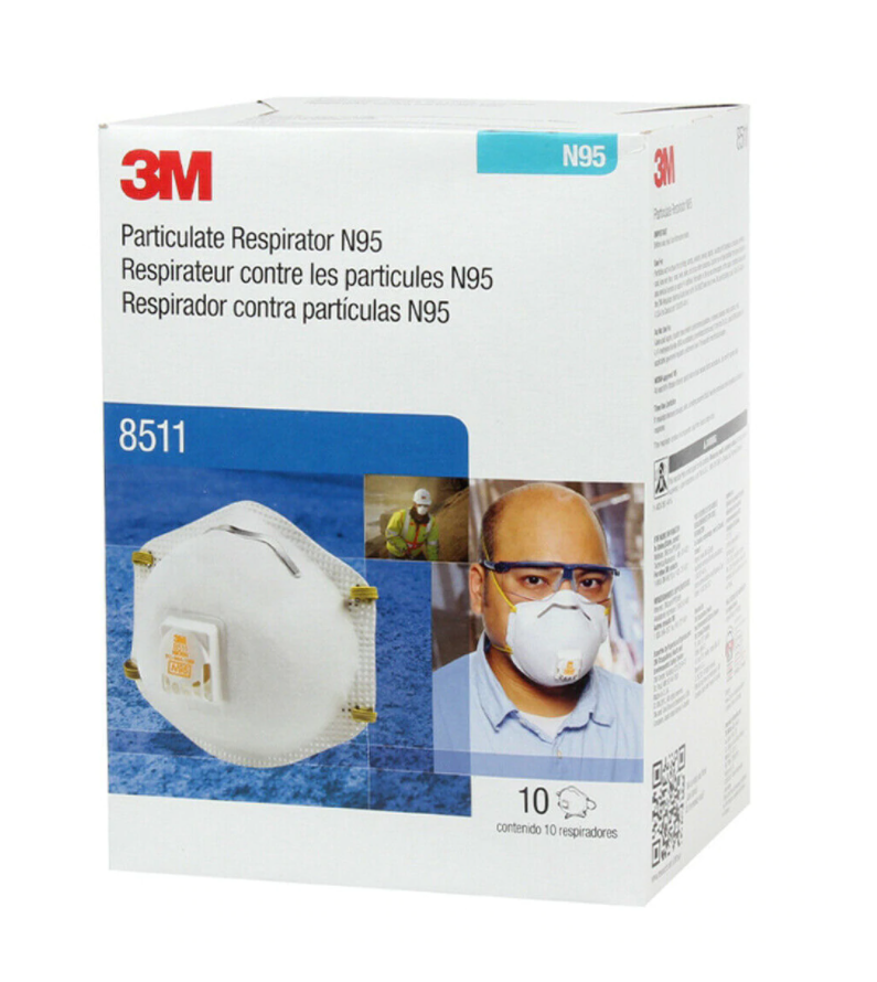 3M Particulate Respirator N95 Box of 10. Image of the product box.