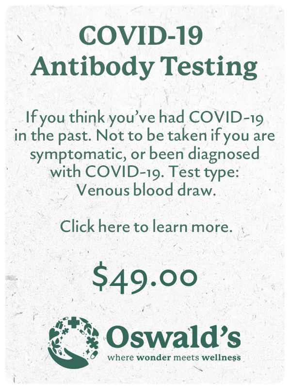 COVID-19 Antibody Testing button. Image of the text and $49.00 pricing.