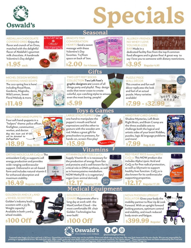 February 2021 Sales Flyer. Monthly promotions for Oswald's Pharmacy. Large image size.